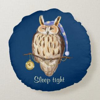 Owl Night-night sleep tight Round Pillow