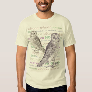 Owl Noises - Barred Owl - Antique Illustrations Tees