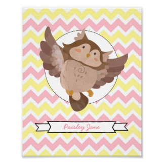 Owl Nursery Wall Art with your name / pink yellow