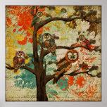 Owl Oak Art Poster