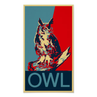 Owl Obama-style poster