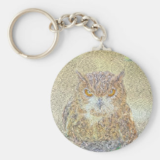 Owl Observing Keychain