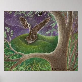 'Owl of Minerva' Art Poster bronze matte uv