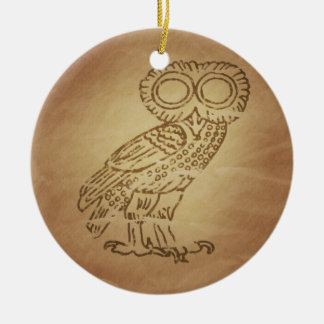 Owl of Wisdom Greek Ceramic Ornament