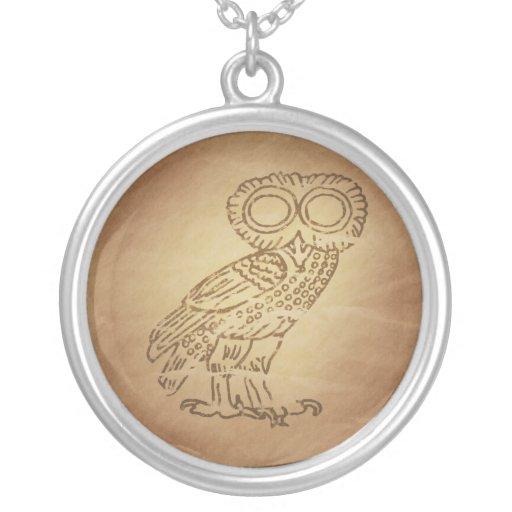 Owl of Wisdom Greek Custom Necklace