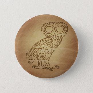 Owl of Wisdom Greek Pinback Button