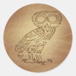 Owl of Wisdom Greek Round Sticker