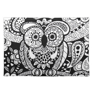 Owl of Wishes Color Your Own Zendoodle Products Cloth Placemat
