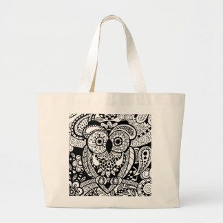 Owl of Wishes Color Your Own Zendoodle Products Large Tote Bag