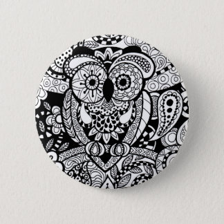 Owl of Wishes Color Your Own Zendoodle Products Pinback Button