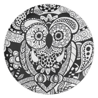 Owl of wishes color your own zendoodle products party plates