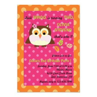 Owl on a branch - Birthday invitations 4