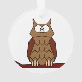 Owl on a branch cartoon ornament