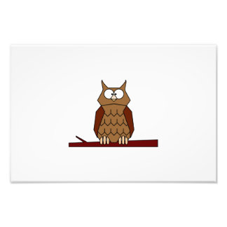 Owl on a branch cartoon photo art