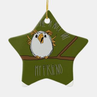 owl on a branch ceramic ornament