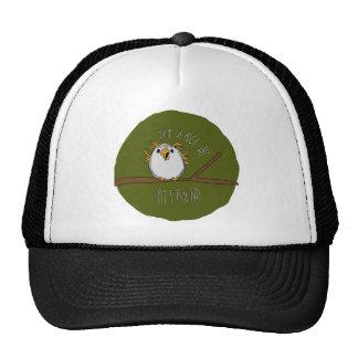 owl on a branch trucker hats
