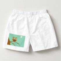 Owl on a branch illustration boxers