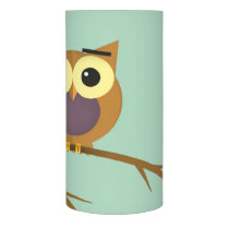 Owl on a branch illustration flameless candle