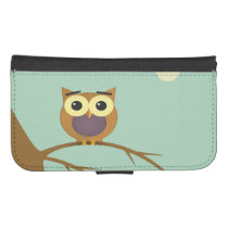 Owl on a branch illustration galaxy s4 wallet case