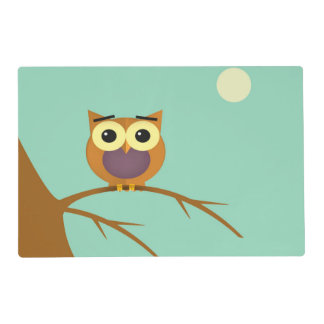 Owl on a branch illustration placemat