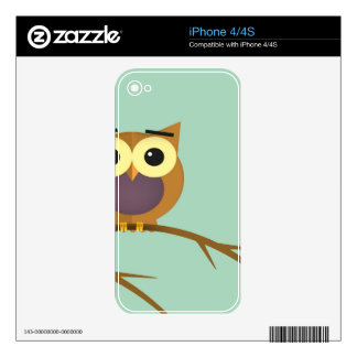 Owl on a branch illustration skin for the iPhone 4S