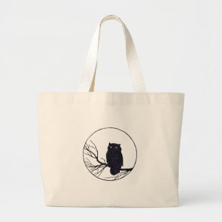 Owl on a Branch in a Circle Jumbo Tote Bag