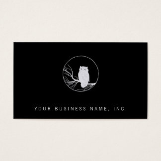 Owl on a Branch in a Circle Business Card