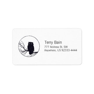 Owl on a Branch in a Circle Personalized Address Label