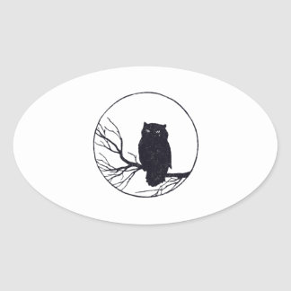 Owl on a Branch in a Circle Oval Sticker