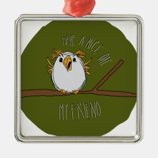 owl on a branch metal ornament