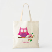 Owl on a Branch Personalized Bag Tote for Girl