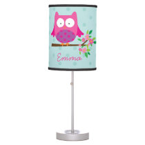 Owl on a Branch Personalized Table Lamp for Girl