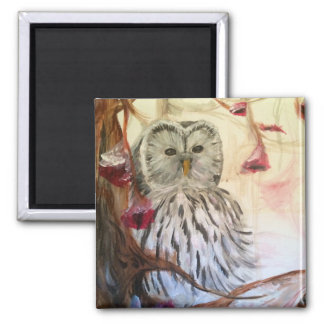 Owl on a Branch Refrigerator Magnets