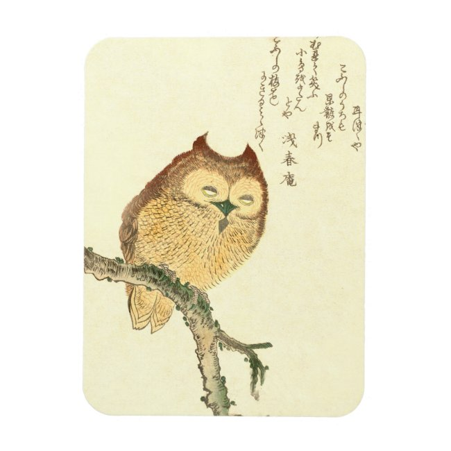 Owl on a branch Vintage Japanese Fine Art Magnet
