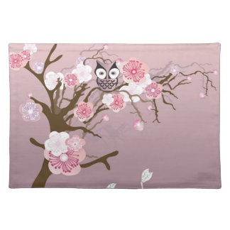 Owl on a cherry blossom tree American MoJo Placema Cloth Placemat