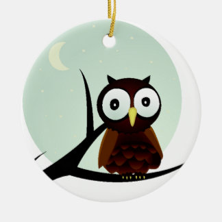 Owl on a Limb Double-Sided Ceramic Round Christmas Ornament