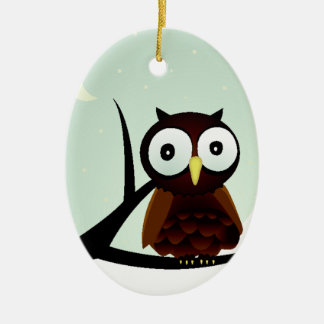 Owl on a Limb Double-Sided Oval Ceramic Christmas Ornament
