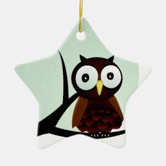 Owl on a Limb Double-Sided Star Ceramic Christmas Ornament