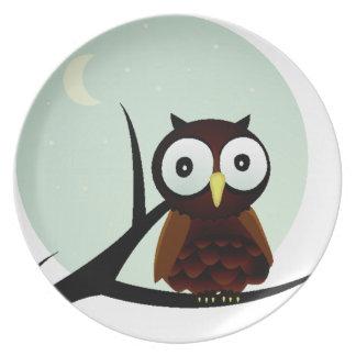 Owl on a Limb Dinner Plate