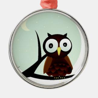 Owl on a Limb Round Metal Christmas Ornament