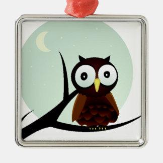 Owl on a Limb Square Metal Christmas Ornament