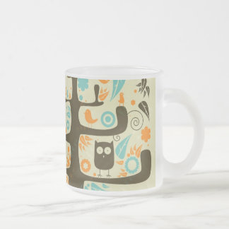 Owl on a Tree Limb Frosted Glass Coffee Mug