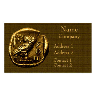 Owl on ancient greek coin business card