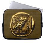 Owl on ancient greek coin computer sleeve