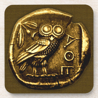 Owl on ancient greek coin drink coaster