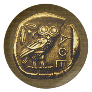 Owl on ancient greek coin melamine plate