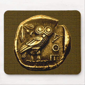 Owl on ancient greek coin mouse pad