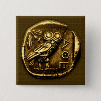 Owl on ancient greek coin pinback button