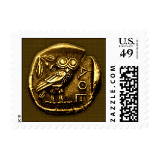 Owl on ancient greek coin postage