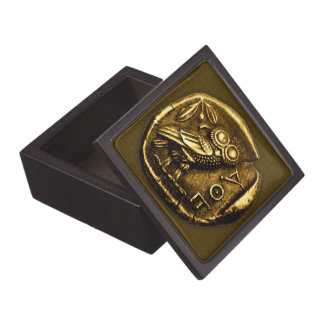 Owl on ancient greek coin premium jewelry box